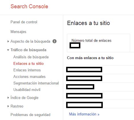 Desautorizar enlaces en Google Console
