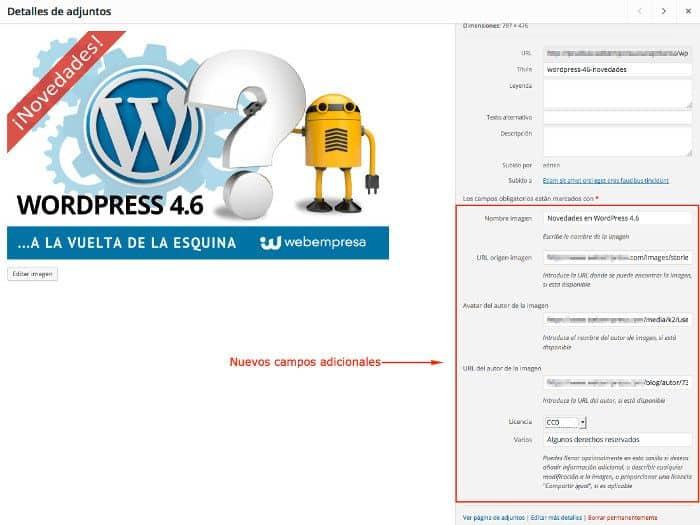 Campos adicionales en imagenes de WordPress