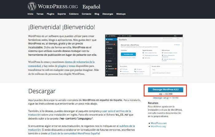 Descarga desde WordPress.org la última versión estable