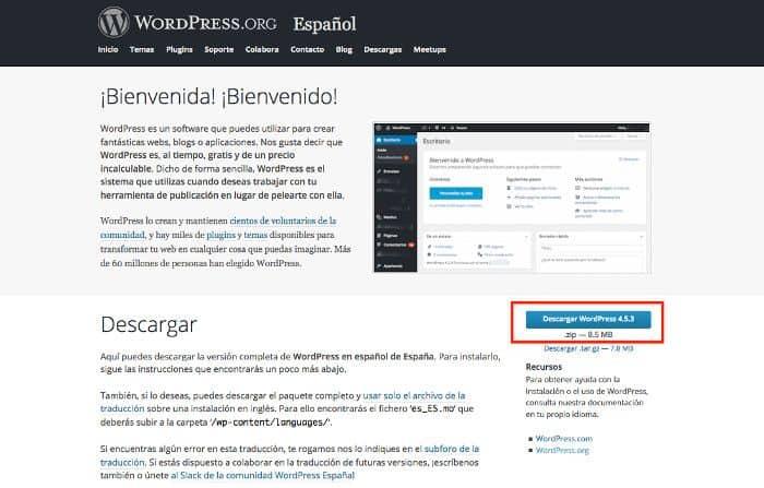 Descarga desde WordPress.org la última versión estable