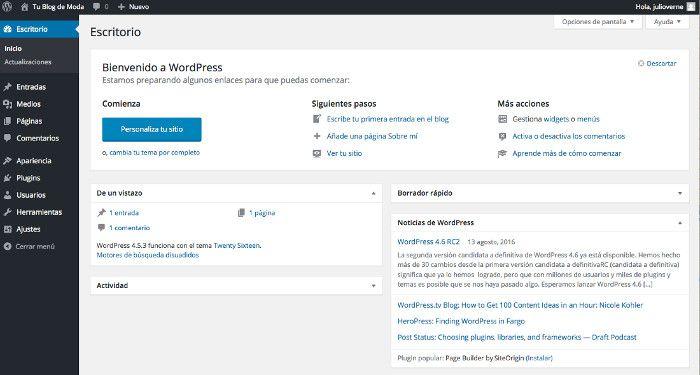 Dentro del dashboard de WordPress