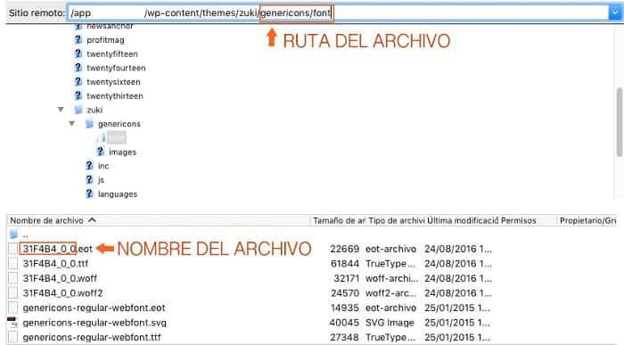 Ruta del archivo en Filezilla