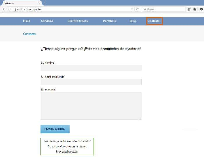 Un ejemplo de formulario de contacto