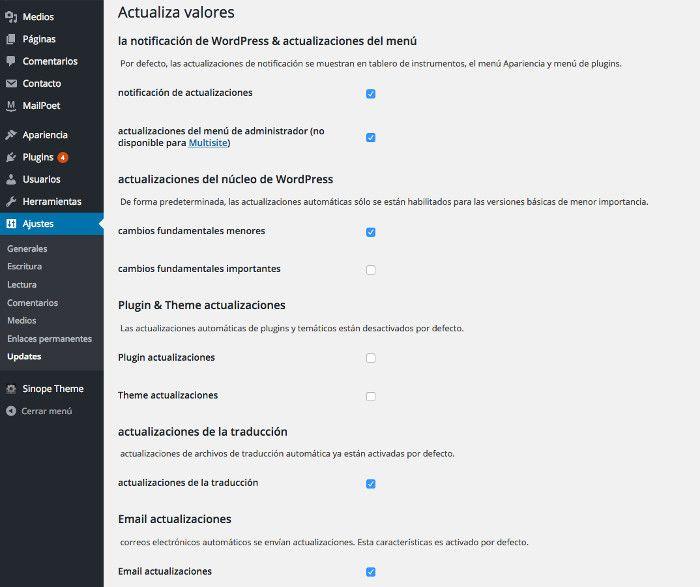 Configuración de WP Updates Settings