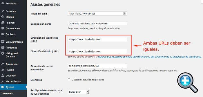 URLs en Ajustes Generales correctas