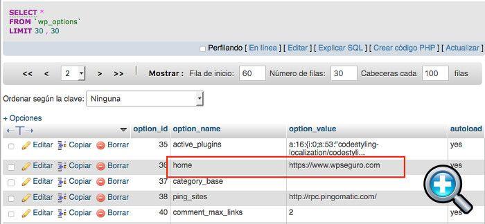 Corregir URLs diferentes desde phpMyAdmin