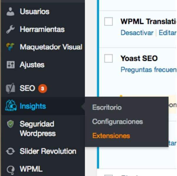 Extensiones dashboard