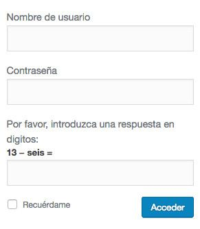 Formulario acceso WordPress