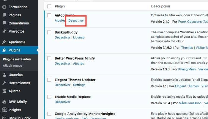 Desactivar todos los plugins de la web
