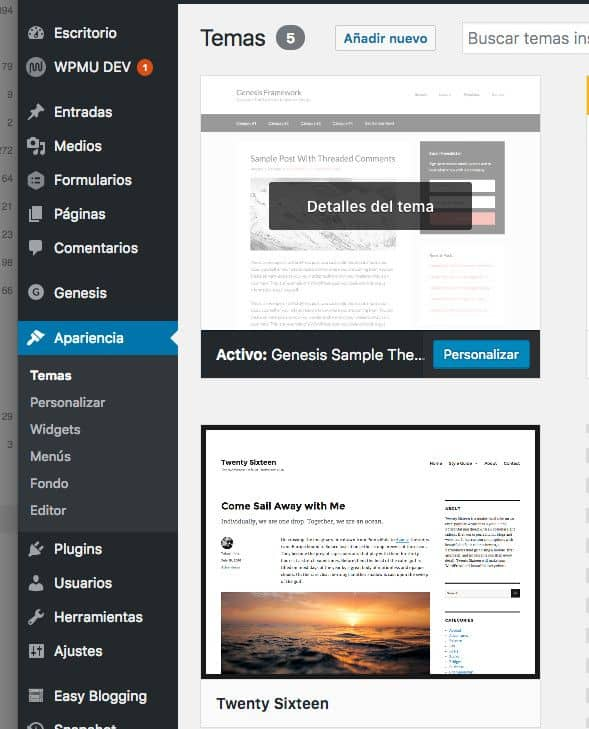 Cambia al tema por defecto de wordpress