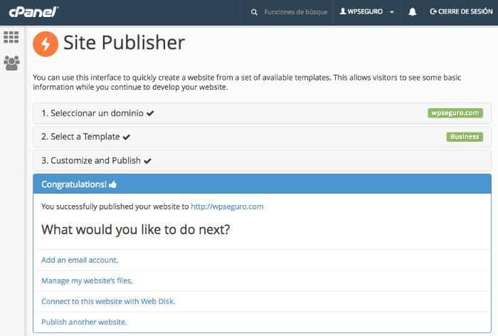 Creación de un sitio rápido con Site Publisher en cPanel