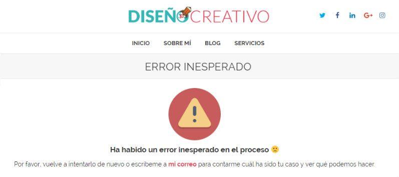 Ejemplo de página de error 404 de Diseño Creativo