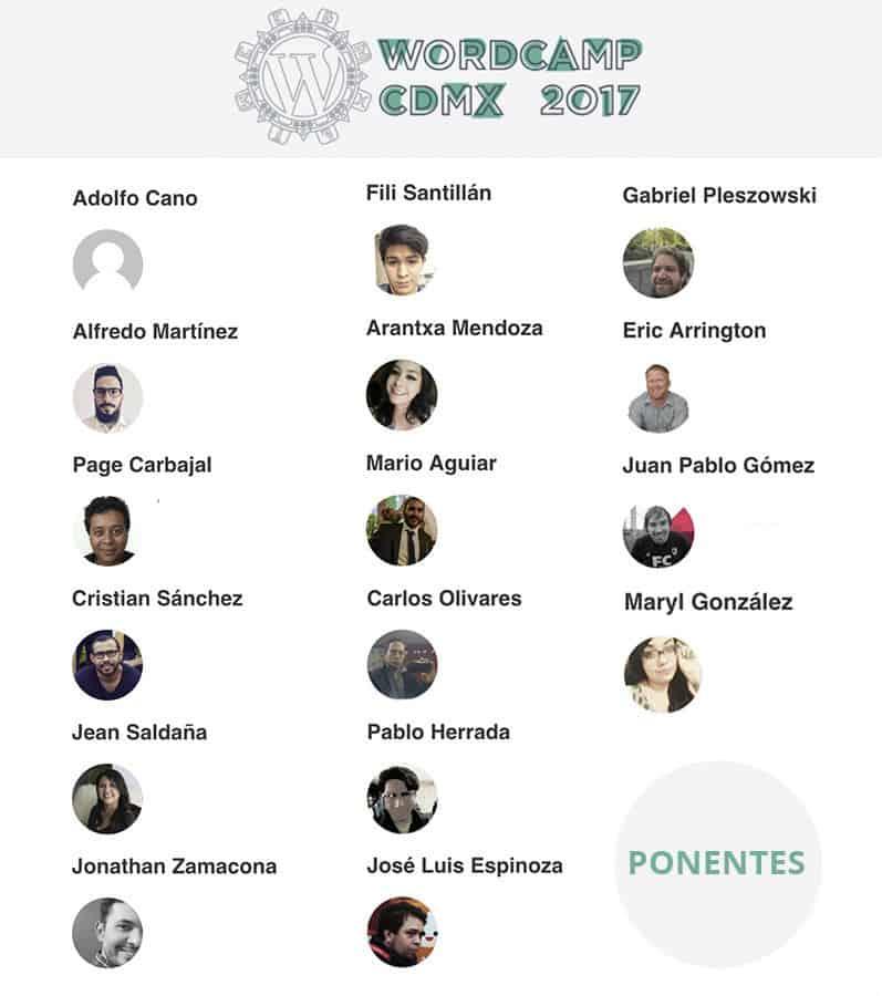 Ponentes de la WordCamp Ciudad de México 2017