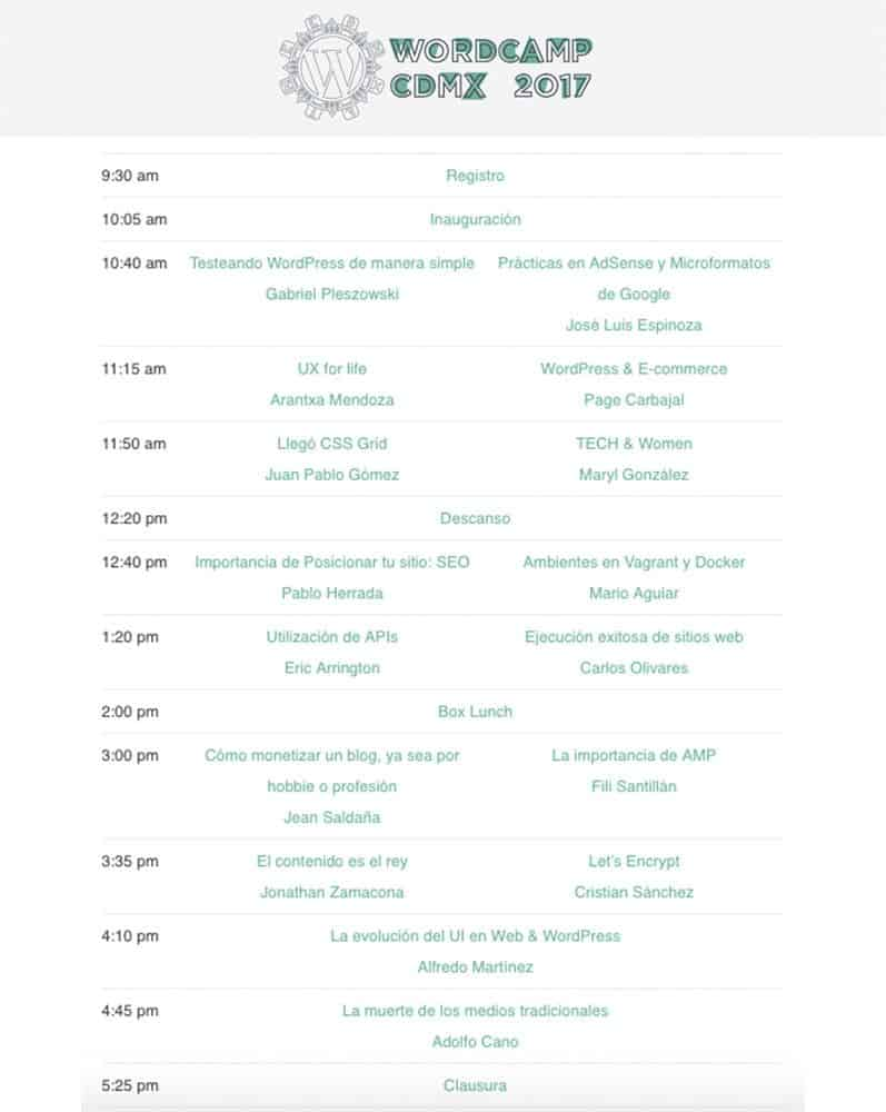 Programación de la WordCamp Ciudad de México 2017