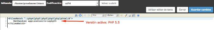 versión PHP habilitada de forma global