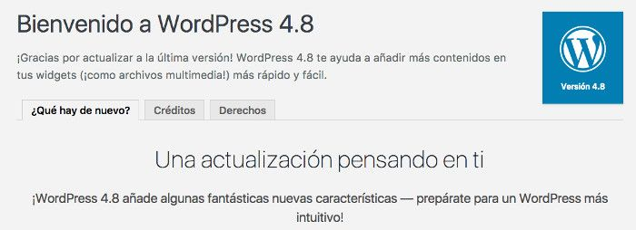 Bienvenido a WordPress 4.8