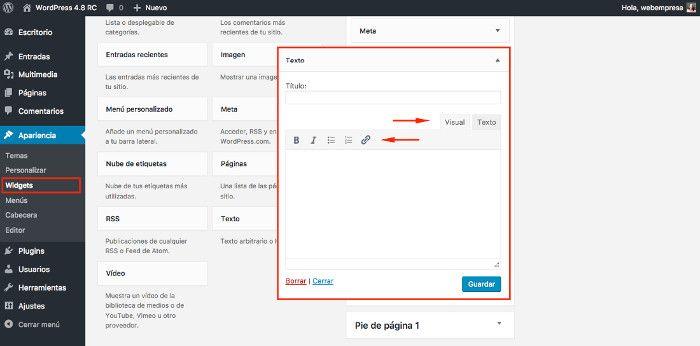 Editor Visual en los widgets de Texto