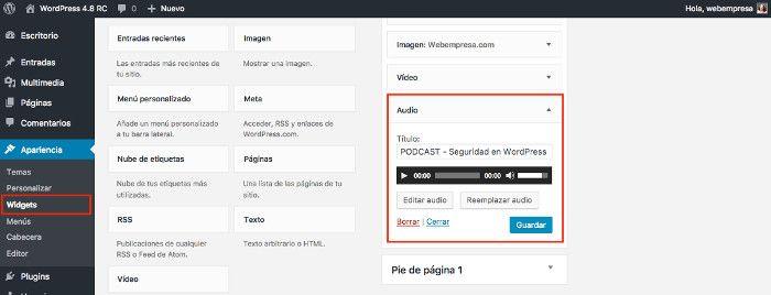 widget de audio