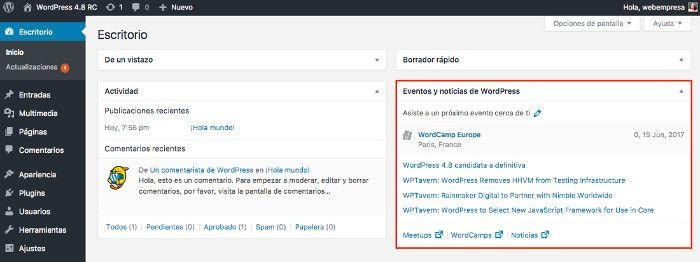 widget de noticias y eventos en el dashboard
