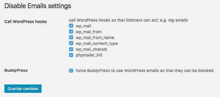 Configuración Disable Emails