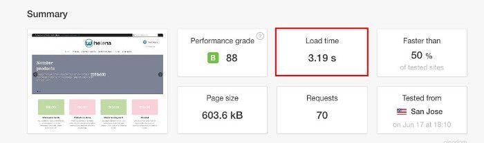 Tiempo de carga de la web