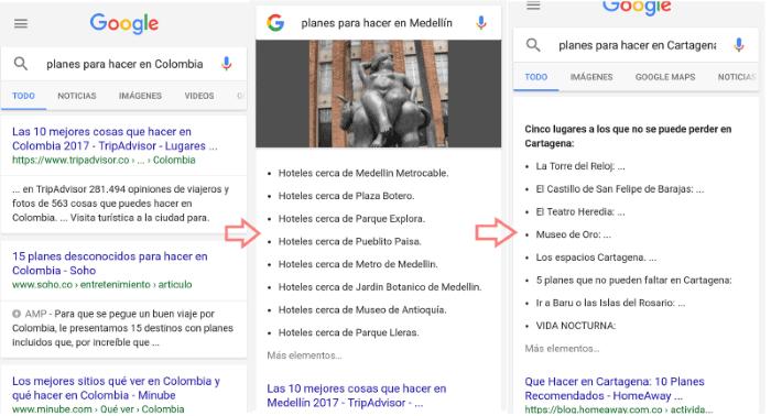 Ejemplo de búsquedas desde el móvil