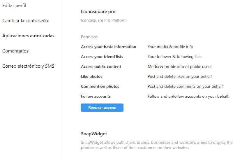 Editar Perfil PC apliacaciones autorizadas