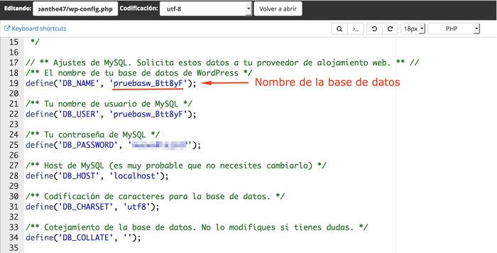 Base de datos en wp-config.php