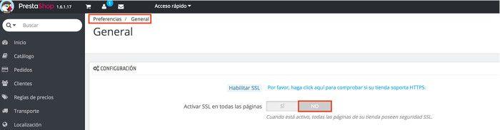 Desactivar SSL