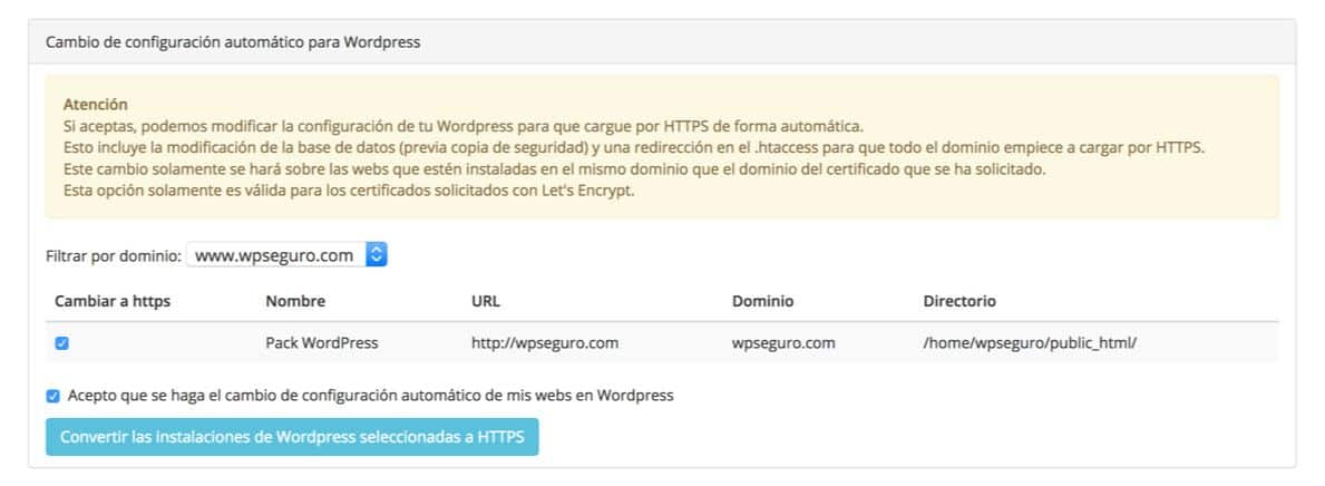 Autoconfigurar HTTPS en WordPress