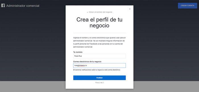 Crear perfil cuenta facebook business