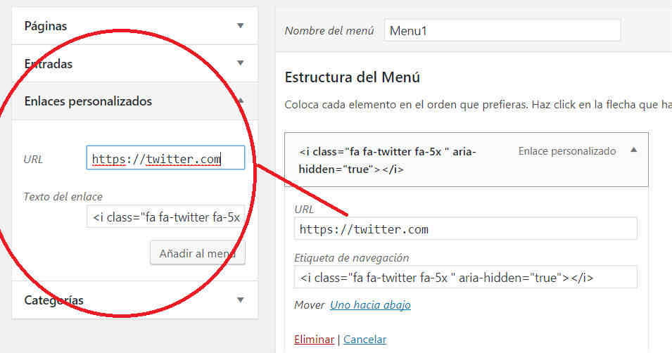 Insertar icono red social