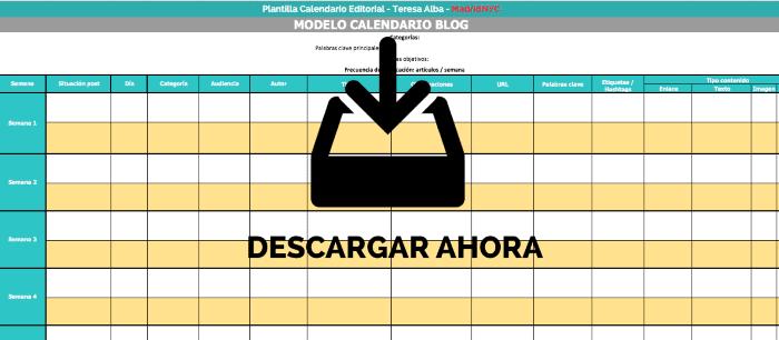 Plantilla para crear tu calendario editorial