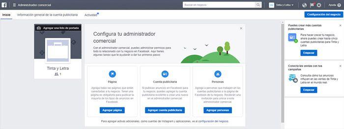 Plataforma Facebook business manager