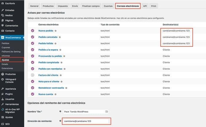 Configuración de correos en WooCommerce