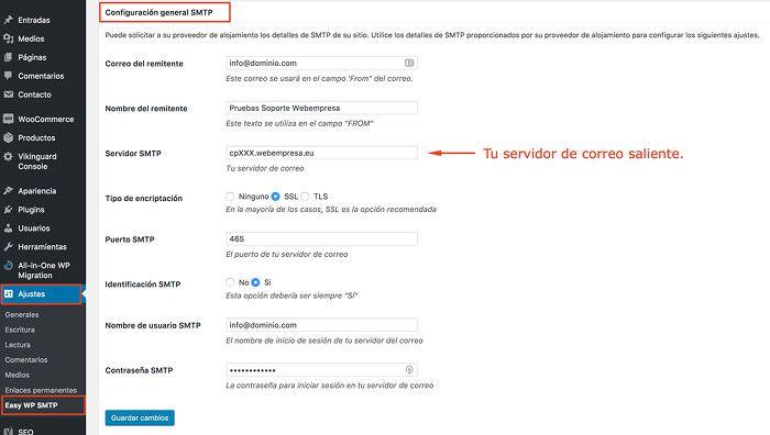 Configuración Easy WP SMTP