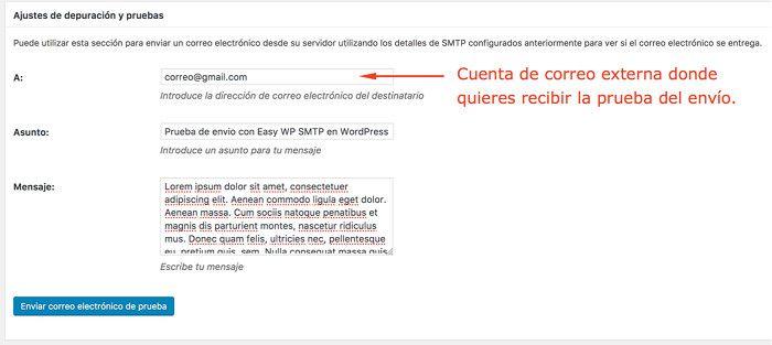 Prueba de envío de correo por SMTP