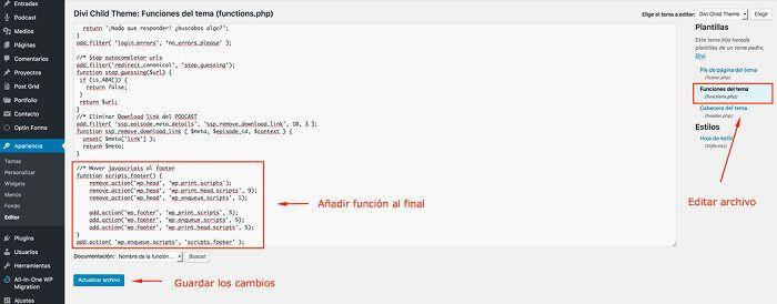 función en functions.php