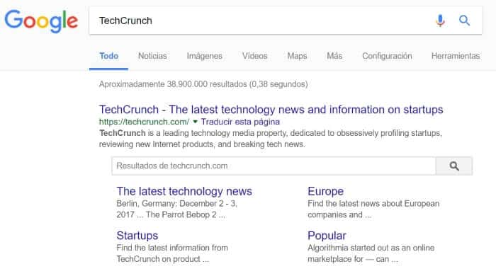 Buscar en Google Techcrunch