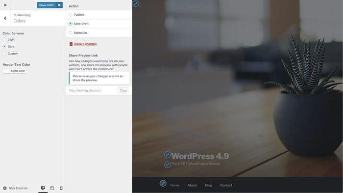 Guarda como borrador y programa personalizaciones del diseño del sitio