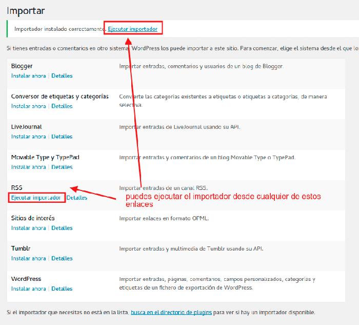 Ejecutar importador de RSS