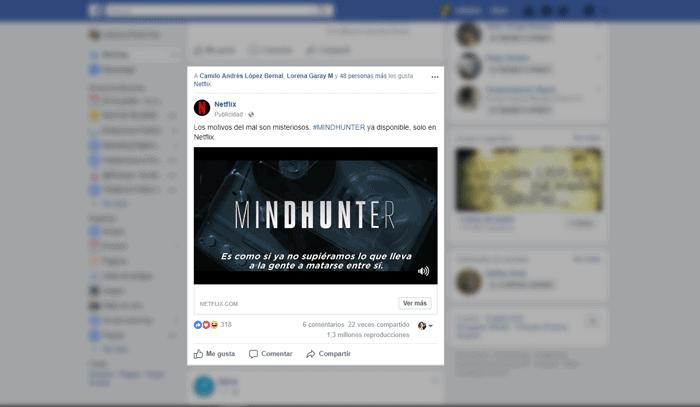 Facebook ads en anuncio de Netflix