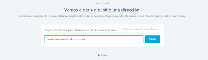 Direccion sitio web wordpress