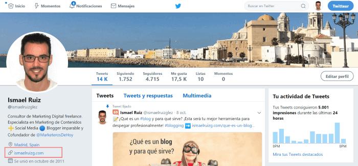 URL en Twitter