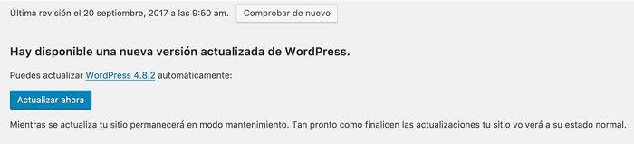 Aviso de actualización wordpres