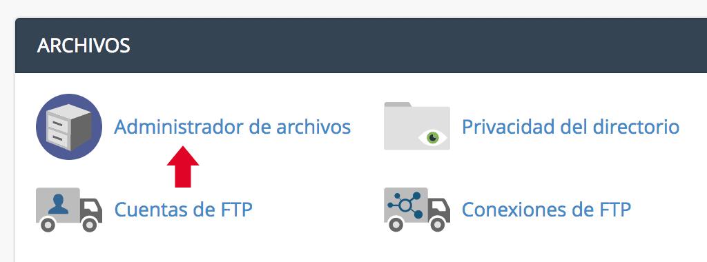 Seleccionar Administrador de Archivos desde el cPanel
