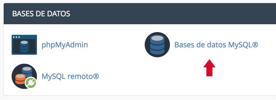 Opción de Base de datos MySQL en cPanel