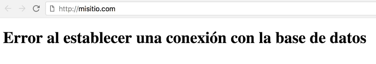 pantalla mensaje error conexión base de datos WordPress