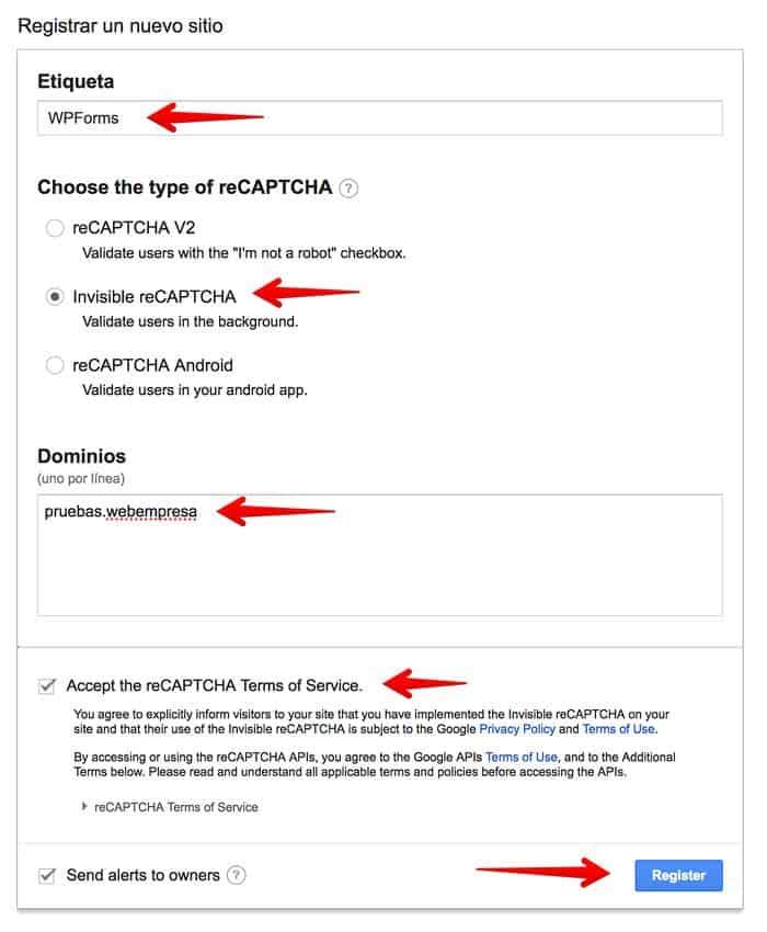 Registrar un nuevo sitio