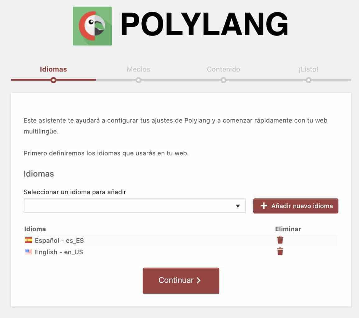 Paso uno asistente Polylang